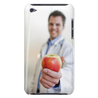 A portrait of a doctor holding a apple. barely there iPod case