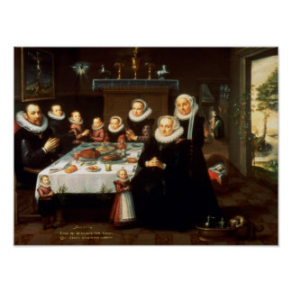 A Portrait of a Family saying Grace Before a Meal Poster