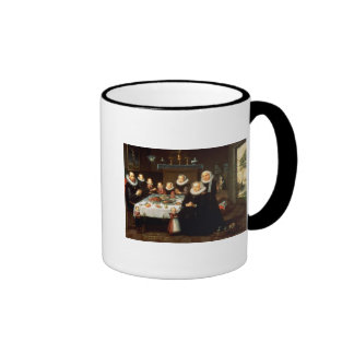 A Portrait of a Family saying Grace Before a Meal Ringer Mug