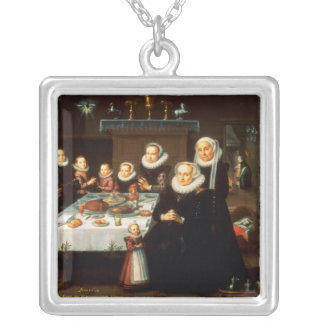 A Portrait of a Family saying Grace Before a Meal Silver Plated Necklace
