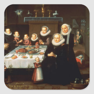 A Portrait of a Family saying Grace Before a Meal Square Sticker