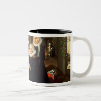 A Portrait of a Family saying Grace Before a Meal Two-Tone Coffee Mug