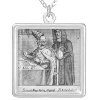 A Portrayal of Titus Oates Silver Plated Necklace