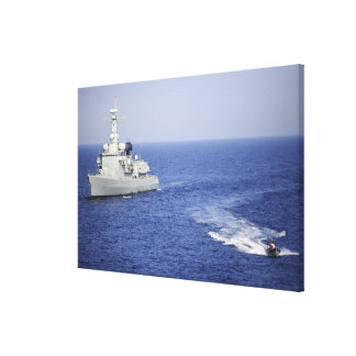 A Portuguese navy team in an inflatable boat Canvas Prints