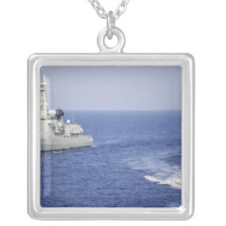 A Portuguese navy team in an inflatable boat Square Pendant Necklace