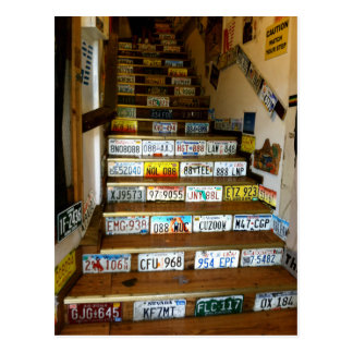 A postcard of stairs made with license plates