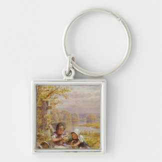 A Posy for Mother, 1867 Silver-Colored Square Keychain