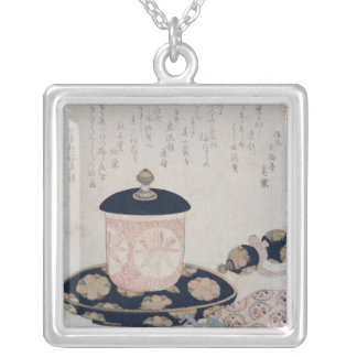 A Pot of Tea and Keys, 1822 Silver Plated Necklace