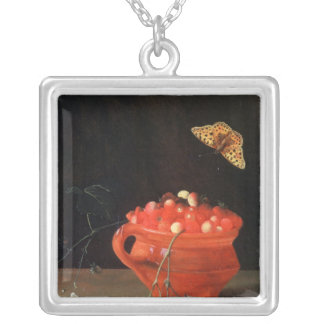 A Pot of Wild Strawberries Square Pendant Necklace