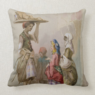 A pot seller, c.1855 throw pillow