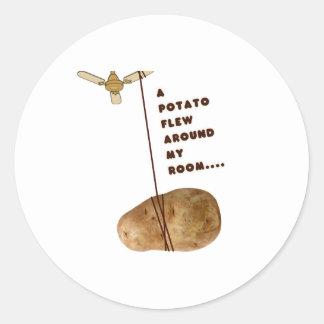 A Potato Flew Around My Room Classic Round Sticker