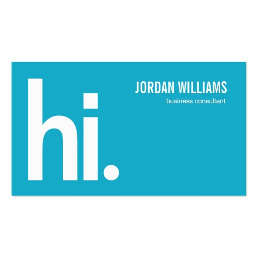 A Powerful Hi - Modern Business Card - Turquoise Business Card Template