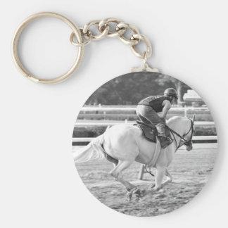 A Powerful White Thoroughbred at Saratoga. Basic Round Button Keychain