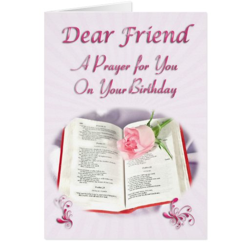 A prayer for a friend on her Birthday Card