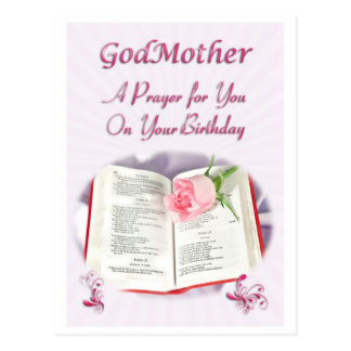 A prayer for a God Mother on her Birthday Postcard