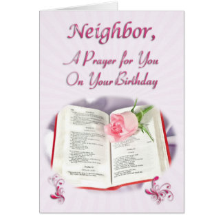 A prayer for a neighbor on her Birthday Card