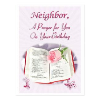A prayer for a neighbor on her Birthday Postcard