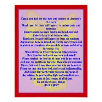A Prayer For Our Soldiers Poster