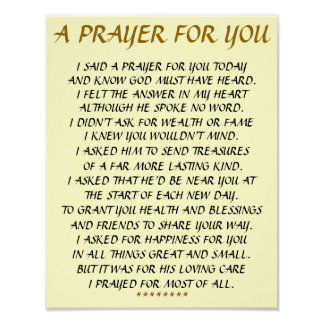 """A PRAYER FOR YOU ""11X14 WALL POSTER. POSTER"