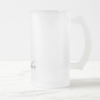 A pregnant mother-to-be with miniature pink hearts frosted glass beer mug
