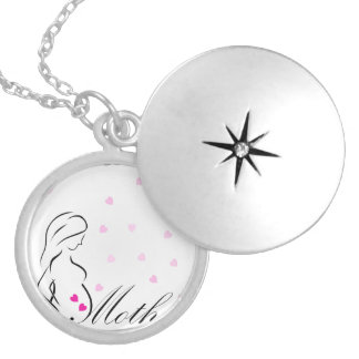 A pregnant mother-to-be with miniature pink hearts silver plated necklace