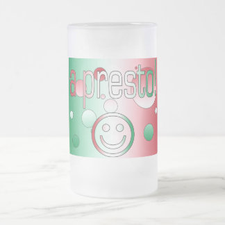 A Presto! Italy Flag Colors Pop Art Frosted Glass Beer Mug