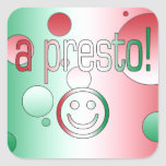 A Presto! Italy Flag Colors Pop Art Square Stickers