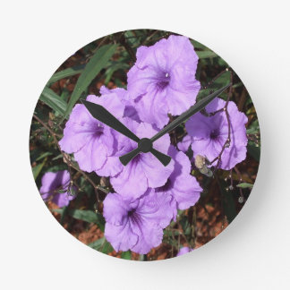 A Pretty Cluster of Mexican Petunias Round Clock