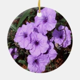 A Pretty Cluster of Purple Mexican Petunias Ceramic Ornament