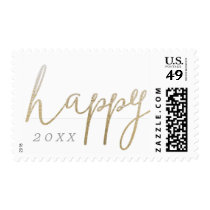 A Pretty Faux Foil Happy New Year Postage Stamp
