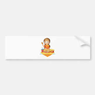 A pretty girl eating at the fastfood restaurant bumper stickers