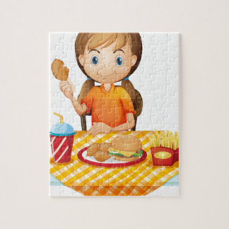 A pretty girl eating at the fastfood restaurant puzzle