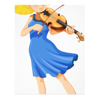 A pretty girl playing the violin letterhead template