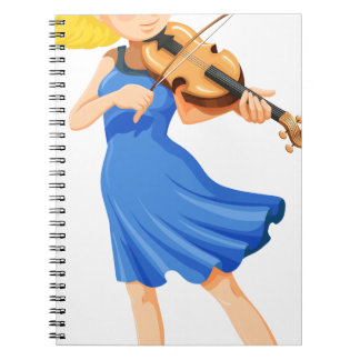 A pretty girl playing the violin spiral notebook
