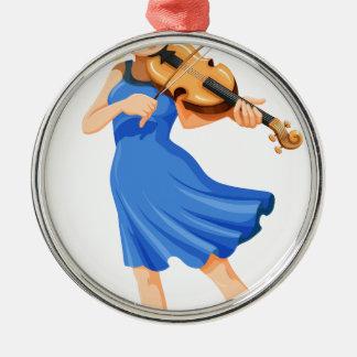 A pretty girl playing the violin christmas tree ornament