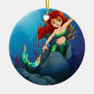 A pretty mermaid trapped with the big rocks under Double-Sided ceramic round christmas ornament