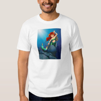 A pretty mermaid trapped with the big rocks under t-shirt