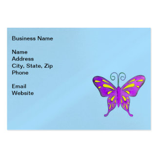 A Pretty Purple and Yellow Butterfly on Blue Business Card Templates