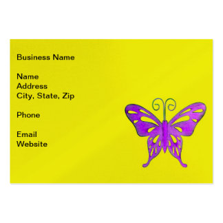 A Pretty Purple Butterfly on Yellow Business Card Templates