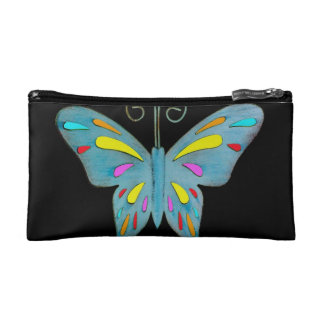 A Pretty Teal Butterfly with Colorful Accents Makeup Bag