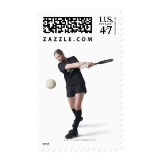 a pretty young caucasian woman is wearing a postage