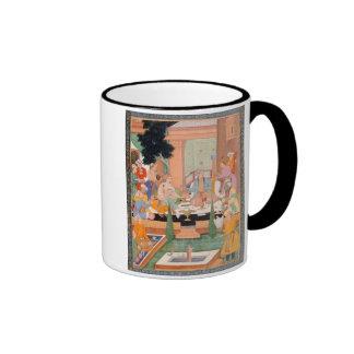 A prince and companions take refreshments and list ringer coffee mug