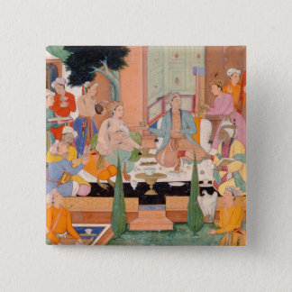 A prince and companions take refreshments and list pinback button