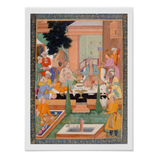 A prince and companions take refreshments and list poster