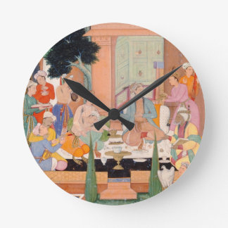 A prince and companions take refreshments and list round clock