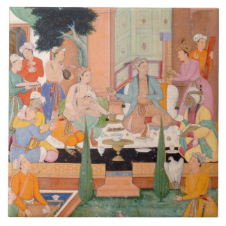 A prince and companions take refreshments and list large square tile