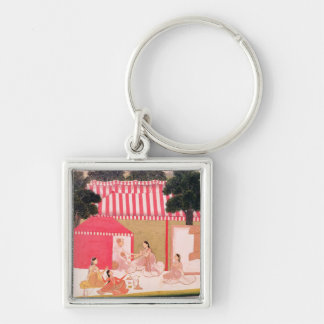 A Prince and his Harem Silver-Colored Square Keychain
