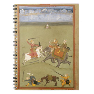 A Prince Fighting his Enemies on an Elephant, c.17 Notebook