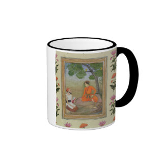 A prince in discussion with a religious man holdin ringer coffee mug
