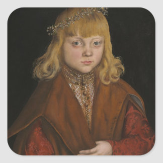 A Prince of Saxony, c.1517 (oil on panel) Square Stickers